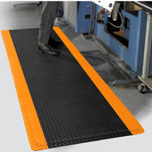 Diamond Foot Floor Mat with Colored Borders, 4' x 75' x 9/16'', Black/Orange
