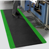 Diamond Foot Floor Mat with Colored Borders, 3' x 5' x 9/16'', Black/Green
