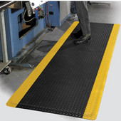 Supreme Diamond Foot Floor Mat with Colored Borders, 3' x 75' x 11/16'', Black/Yellow