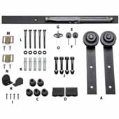 Barn Door Hardware Kit Traditional Strap Matte Black, 6 Foot Length