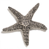 Scallops & Seahorses Collection 4-1/4'' Diameter Large Starfish Knob in Polished Pewter, 4-1/4'' Diameter x 1-1/4'' D