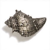 Scallops & Seahorses Collection 2-1/2'' W Whelk Knob in Polished Pewter, 2-1/2'' W x 1-3/4'' D