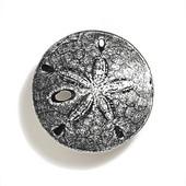 Scallops & Seahorses Collection 1-1/2'' Diameter Round Mini Sand Dollar Knob in Polished Pewter, 1-1/2'' Diameter x 3/4'' D