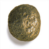 Bark, Leaves & Rocks Collection 1-1/2'' Diameter Rock 7 Round Knob in Antique Brass, 1-1/2'' Diameter x 1'' D