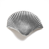 Scallops & Seahorses Collection 2'' W Small Shell Grip Knob in Polished Pewter, 2'' W x 1'' D
