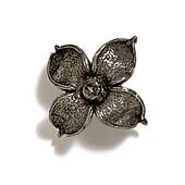 Pinecones & Jasmine Collection 2'' W Flower Knob in Antique Pewter, 2'' W x 1-1/8'' D