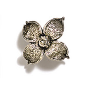 Pinecones & Jasmine Collection 2'' W Flower Knob in Polished Pewter, 2'' W x 1-1/8'' D