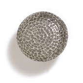 Bark, Leaves & Rocks Collection 1-1/4'' Diameter Round Hammered Knob in Polished Pewter, 1-1/4'' Diameter x 1-1/4'' D
