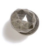 Bark, Leaves & Rocks Collection 1-3/8'' Diameter Round Small Faceted Knob in Polished Pewter, 1-3/8'' Diameter x 1-3/8'' D