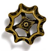 Faucets & Cleats Collection 2-1/4'' Diameter Round Medium Valve Handle Knob in Antique Brass, 2-1/4'' Diameter x 1-1/2'' D