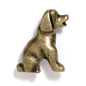 Blocks & Ropes Collection 2'' W Puppy Knob Right Face in Antique Brass, 2'' W x 1'' D