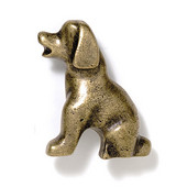 Blocks & Ropes Collection 2'' W Puppy Knob Left Face in Antique Brass, 2'' W x 1'' D