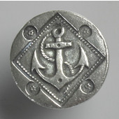 Blocks & Ropes Collection 1'' Diameter Round Anchor Knob in Polished Pewter, 1'' Diameter x 3/4'' D