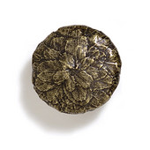 Bark, Leaves & Rocks Collection 1-3/8'' Diameter Round Small Leaves Knob in Antique Brass, 1-3/8'' Diameter x 1'' D