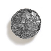 Bark, Leaves & Rocks Collection 1-3/8'' Diameter Round Small Leaves Knob in Polished Pewter, 1-3/8'' Diameter x 1'' D