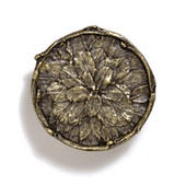 Bark, Leaves & Rocks Collection 1-7/8'' Diameter Round Leaves with Branch Knob in Antique Brass, 1-7/8'' Diameter x 3/4'' D