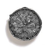 Bark, Leaves & Rocks Collection 1-7/8'' Diameter Round Leaves with Branch Knob in Antique Pewter, 1-7/8'' Diameter x 3/4'' D