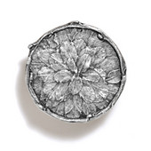 Bark, Leaves & Rocks Collection 1-7/8'' Diameter Round Leaves with Branch Knob in Polished Pewter, 1-7/8'' Diameter x 3/4'' D