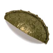 Bark, Leaves & Rocks Collection 3-1/2'' W Leaves Bin Pull in Antique Brass, 3-1/2'' W x 1'' D