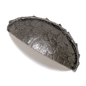 Bark, Leaves & Rocks Collection 3-1/2'' W Leaves Bin Pull in Antique Pewter, 3-1/2'' W x 1'' D