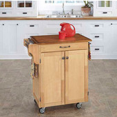 Mix & Match 2 Door w/ Drawer Cuisine Cart Cabinet, Natural Finish with Oak Top, 32-1/2'' W x 18-3/4'' D x 35-1/2'' H