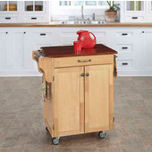 Mix & Match 2 Door w/ Drawer Cuisine Cart Cabinet, Natural Finish with Cherry Top, 32-1/2'' W x 18-3/4'' D x 35-1/2'' H