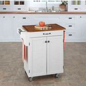Mix & Match 2 Door w/ Drawer Cuisine Cart Cabinet, White Finish with Oak Top, 32-1/2'' W x 18-3/4'' D x 35-1/2'' H