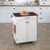 Mix & Match 2 Door w/ Drawer Cuisine Cart Cabinet, White Finish with Cherry Top, 32-1/2'' W x 18-3/4'' D x 35-1/2'' H