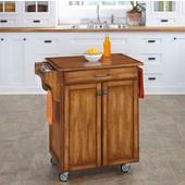 Mix & Match 2 Door w/ Drawer Cuisine Cart Cabinet, Warm Oak Finish with Oak Top, 32-1/2'' W x 18-3/4'' D x 35-1/2'' H