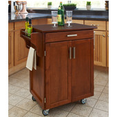 Mix & Match 2 Door w/ Drawer Cuisine Cart Cabinet, Warm Oak Finish with Cherry Top, 32-1/2'' W x 18-3/4'' D x 35-1/2'' H