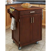 Mix & Match 2 Door w/ Drawer Cuisine Cart Cabinet, Cherry Finish with Oak Top, 32-1/2'' W x 18-3/4'' D x 35-1/2'' H