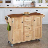 Mix & Match Create-a-Cart Natural Finish with Oak Top by , 48'' W x 17-3/4'' D x 35-1/2''H