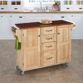 Mix & Match Create-a-Cart Natural Finish with Cherry Top by , 48'' W x 17-3/4'' D x 35-1/2''H