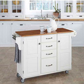 Mix & Match Create-a-Cart White Finish with Oak Top by , 48'' W x 17-3/4'' D x 35-1/2''H