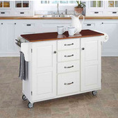 Mix & Match Create-a-Cart White Finish with Cherry Top by , 48'' W x 17-3/4'' D x 35-1/2''H