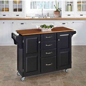 Mix & Match Create-a-Cart Black Finish with Oak Top by , 48'' W x 17-3/4'' D x 35-1/2''H