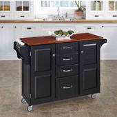 Mix & Match Create-a-Cart Black Finish with Cherry Top by , 48'' W x 17-3/4'' D x 35-1/2''H