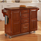 Mix & Match Create-a-Cart Warm Oak Finish with Cherry Top by , 48'' W x 17-3/4'' D x 35-1/2''H