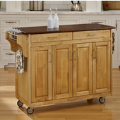 Mix & Match Create-a-Cart Natural Finish with Cherry Top by , 48-3/4'' W x 17-3/4'' D x 34-3/4''H