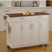 Mix & Match Create-a-Cart White Finish with Oak Top by , 48-3/4'' W x 17-3/4'' D x 34-3/4''H
