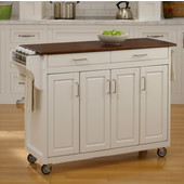Mix & Match Create-a-Cart White Finish with Cherry Top by , 48-3/4'' W x 17-3/4'' D x 34-3/4''H