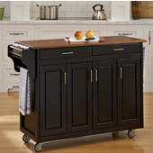 Mix & Match Create-a-Cart Black Finish with Oak Top by , 48-3/4'' W x 17-3/4'' D x 34-3/4''H