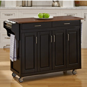 Mix & Match Create-a-Cart Black Finish with Cherry Top by , 48-3/4'' W x 17-3/4'' D x 34-3/4''H
