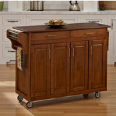 Mix & Match Create-a-Cart Warm Oak Finish with Cherry Top by , 48-3/4'' W x 17-3/4'' D x 34-3/4''H