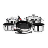 10-Piece Stainless Steel Gourmet Cookware with Ceramica Non-Stick
