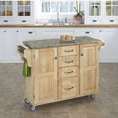 Mix and Match Natural Create-a-Cart with Gray Concrete Top, 48'' W x 17-3/4'' D x 35-1/2'' H