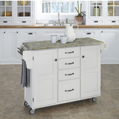 Mix and Match White Create-a-Cart with Gray Concrete Top, 48'' W x 17-3/4'' D x 35-1/2'' H