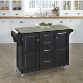 Mix and Match Black Create-a-Cart with Gray Concrete Top, 48'' W x 17-3/4'' D x 35-1/2'' H