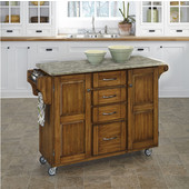 Mix and Match Oak Create-a-Cart with Gray Concrete Top, 48'' W x 17-3/4'' D x 35-1/2'' H