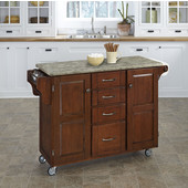 Mix and Match Cherry Create-a-Cart with Gray Concrete Top, 48'' W x 17-3/4'' D x 35-1/2'' H
